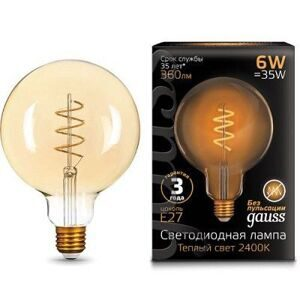 Лампа Gauss LED Filament G120 Flexible E27 6W Golden 2400К 158802008