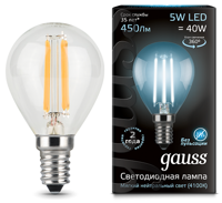 Лампа Gauss LED Filament Globe E14 5W 4100К 105801205