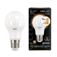 Лампа Gauss LED A60 10W E27 2700K step dimmable 102502110-S