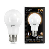 Лампа Gauss LED A60 E27 7W 3000K 102502107