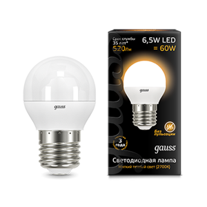 Лампа Gauss LED Globe E27 6.5W 3000K 105102107