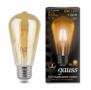 Лампа Gauss LED Filament ST64 E27 6W Golden 2400К 102802006