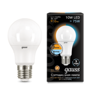 Лампа Gauss LED A60 10W E27 2700K/4100K 102502110-T