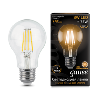 Лампа Gauss LED Filament A60 E27 8W 2700К 102802108