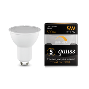 Лампа Gauss LED MR16 GU10-dim 5W 3000K  диммируемая 101506105-D