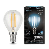 Лампа Gauss LED Filament Globe E14 7W 4100К 105801207​