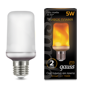 Лампа Gauss Led T65 Flame 5W E27 1500K 157402105