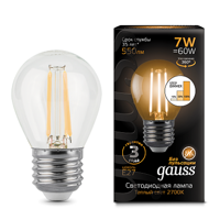 Лампа Gauss LED Filament Globe E27 7W 2700K step dimmable 105802107-S