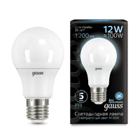 Лампа Gauss LED A60 E27 12W 4100K 102502212