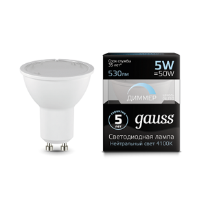 Лампа Gauss LED MR16 GU10-dim 5W 4100K  диммируемая 101506205-D