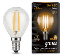Лампа Gauss LED Filament Globe E14 5W 2700К 105801105
