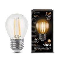 Лампа Gauss LED Filament Globe E27 9W 2700К 105802109