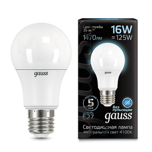Лампа Gauss LED A60 E27 16W 4100K 102502216