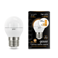 Лампа Gauss LED Globe E27 7W 3000K step dimmable 105102107-S
