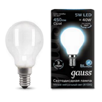 Лампа шар Gauss LED Filament Globe OPAL E14 5W 4100K 105201205