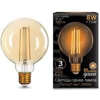 Лампа Gauss LED Filament G95 E27 8W Golden 2400K 105802008