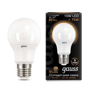 Лампа Gauss LED A60 E27 10W 3000K 102502110