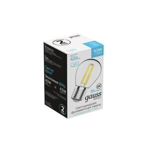 Лампа Gauss Basic Filament Шар 4,5W 420lm 4100К Е27 LED 1051215