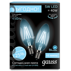 Комплект Gauss LED Filament Candle E14 5W 4100K 103801205P