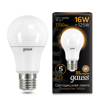 Лампа Gauss LED A60 E27 16W 3000K 102502116