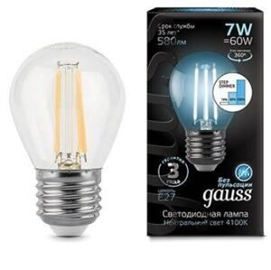 Лампа Gauss LED Filament Globe E27 7W 4100K step dimmable 105802207-S