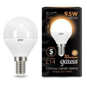 Лампа Gauss LED Globe E14 9.5W 3000K 105101110