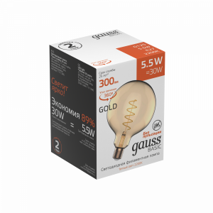 Лампа Gauss Basic Filament G125 5,5W 300lm 2200К Е27 golden LED 1111246
