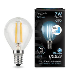 Лампа Gauss LED Filament Globe E14 7W 4100K step dimmable 105801207-S