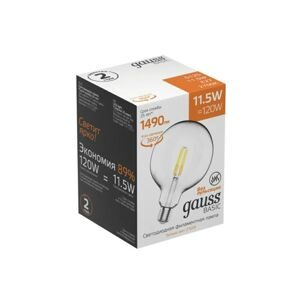 Лампа Gauss Basic Filament G125 11,5W 1490lm 2700К Е27 LED 1111212