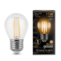 Лампа Gauss LED Filament Globe E27 11W 2700К 105802111