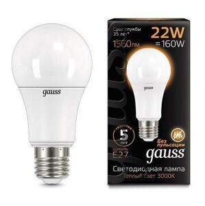 Лампа Gauss LED A70 E27 22W 3000K 102502122