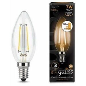 Лампа Gauss LED Filament Candle E14 7W 2700К step dimmable 103801107-S