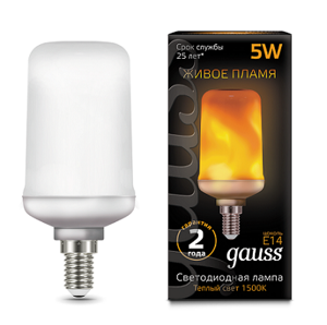Лампа Gauss Led T65 Flame 5W E14 1500K 157401105
