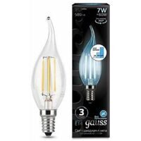 Лампа Gauss LED Filament Candle tailed E14 7W 4100K step dimmable 104801207-S