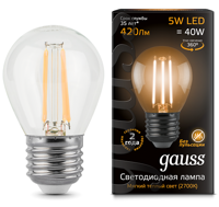 Лампа Gauss LED Filament Globe E27 5W 2700К 105802105