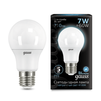 Лампа Gauss LED A60 E27 7W 4100K 102502207
