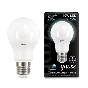 Лампа Gauss LED A60 E27 10W 4100K 102502210