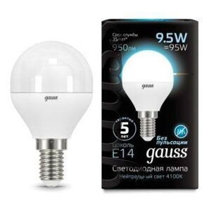 Лампа Gauss LED Globe E14 9.5W 4100K 105101210