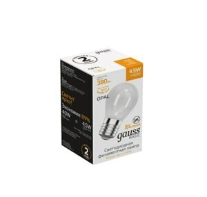 Лампа Gauss Basic Filament Шар 4,5W 380lm 2700К Е27 milky LED 1055215