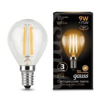 Лампа Gauss LED Filament Globe E14 9W 2700К 105801109