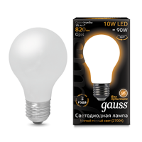 Лампа Gauss LED Filament A60 OPAL E27 10W 2700К 102202110
