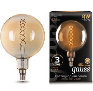 Лампа Gauss LED Vintage Filament Flexible G200 8W E27 Golden 2400K