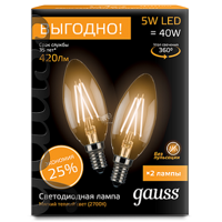 Комплект Gauss LED Filament Candle E14 5W 2700K 103801105P