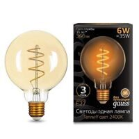 Лампа Gauss LED Filament G95 Flexible E27 6W Golden 2400К 105802007