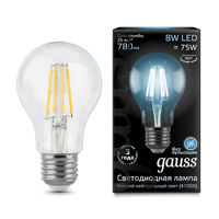 Лампа Gauss LED Filament A60 E27 8W 4100К 102802208